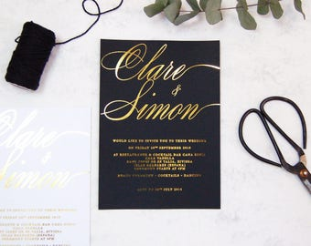 SAMPLE PACK - Wedding Invitation Gold Foil Wedding invitation.Black and Gold Wedding invitation,Script Wedding Invitation,