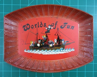 Cedar Fair Parks Kansas City's Worlds of Fun Vintage Souvenir Scandinavia Tray Amusement Park