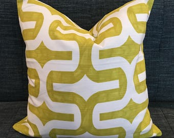 Geometric Pillow Cover / Citrine Green and White Designer Fabric / Handmade Home Decor Accent Pillows