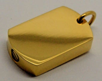 24k Gold Plated Chunky Dogtag Cremation Urn Pendant - Keepsake Charm Necklace - Holds Ashes Sand etc - Engraving/Personalised/Bespoke Vial