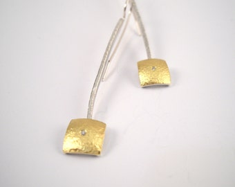 Hammered gold and silver modern square earrings decorated with a diamond and textured surface, Geometric earrings, Gift for her.