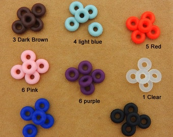 10pcs/100pcs Silicone Rubber Stopper beads, Donut Ring Bead Charms for Bracelets,fit for 3mm/6mm leather cord/ european style bracelet chain