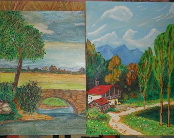 two vintage watercolor gouache landscapes signed