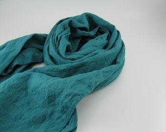 Handmade Linen Scarf ---  Teal