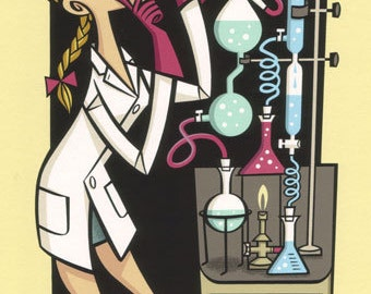 Labgirl, high quality print in mid-century cartoon style of a female chemist doing scientific research in a laboratory.