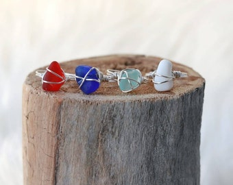 Beach glass rings
