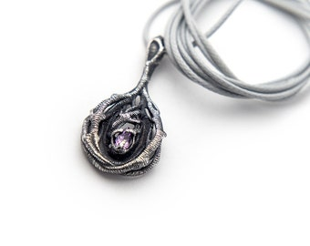 Secret Forest Pendant, Gemstone Alchemy Jewelry, Tree Branches, Black, Purple Pear Amethyst, Handmade