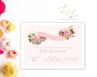 The Juliet Baby Shower invitation - Soft and Sweet Floral Baby Shower Invitation - Baby Girl Pink Banner