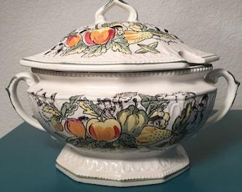 Vintage soup tureen harvest vegetable pattern