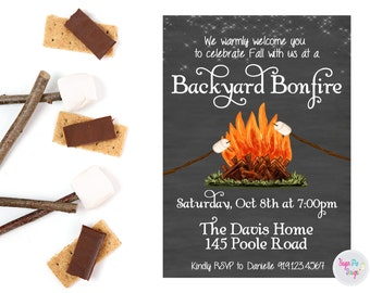 printable bonfire party invitation fall birthday invite