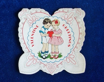 Adorable 1938 Valentine Card Boy and Girl Art Embossed