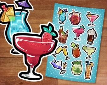Cocktail Stickers / Cute Food Stickers / Planner Stickers / Sticker Set / Fun Cocktails / Girls Night Out / Fun Party Drinks Cosmo Mimosa