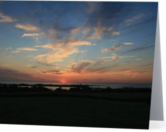 sunset note card, note cards, greeting cards, block island note cards, blank note cards, block island sunset, nautical cards, beach cards