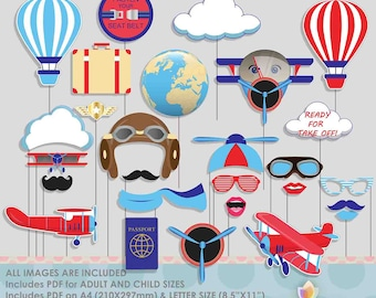 Vintage Airplane Photo Booth Props for Vintage Aviator Party