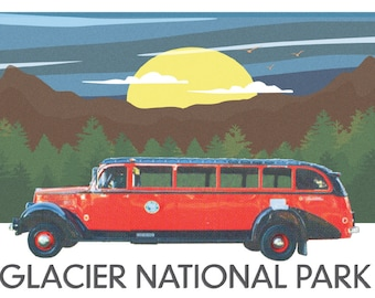 Glacier National Park Jammer Bus Print.  Bright, Colorful Art from Beautiful Montana. Decor for Wildlife & Outdoor Lovers. Perfect Gift Idea