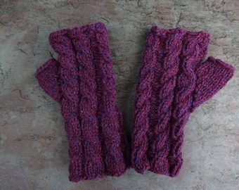 Hand Knitted Girls Fingerless Mitts, Purple Fingerless Mittens for Girls