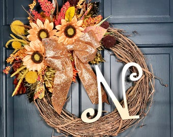 Rose Gold and Peach Personalized Monogram Spring Initial Wreath