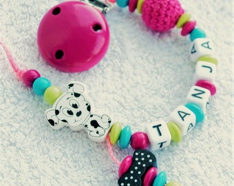 Dummy name pacifier clip Dalmatian dog turquoise pink lemon - babyshower
