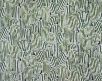 REMNANT--Shades of Green Allover Packed Cactus Print Pure Cotton Fabric--3/4 YARD