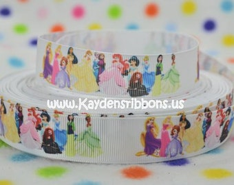 3 yards Princesses & Toddlers ALL - 7/8  inch  - Printed Grosgrain Ribbon