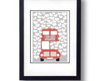 Personalised Red Bus Wedding Guest Book Alternative - A3 Print