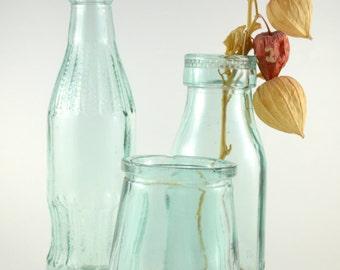 Vintage Bottles Set, Instant Collection of Aqua Blue Glass Bottels , Vintage Glassware, Vintage Yogurt Jar + Milk Bottle + Cola Bottle