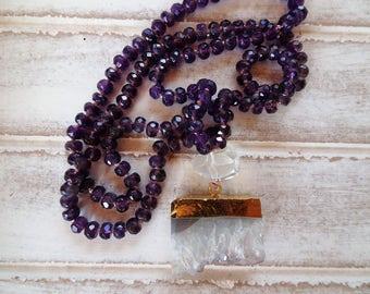 "Amethyst Faceted Natural Stones, Clear Quartz Crystal Guru Stone, Raw Amethyst Pendant,  32"" Long Necklace, Yoga, Spiritual, Crystal Jewelry"