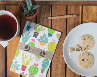 Cactus pattern notebook graphic print A5