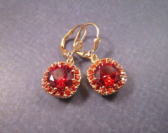 Cubic Zirconia Earrings, Ruby Red and Gold Dangle Earrings, FREE Shipping U.S.
