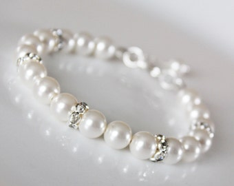 Wedding Pearl Bracelet,  Bridesmaids Pearl Bracelet, Rhinestone and Pearl Bridal Bracelet, Simple Classic Wedding Jewelry