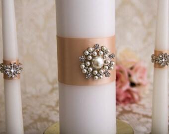 Wedding Unity Candle Set, Pearl Unity Candles Set, Blush Candles, Blush Wedding Candles Set, Custom Wedding Candles