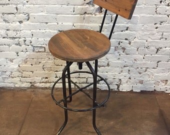 Bar stool with back ,  industrial Bar Stool - wood bar stool, counter stool, rustic bar stool, adjustable bar stool, rustic stool