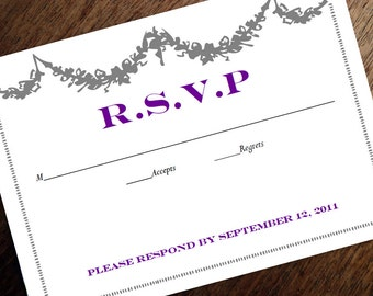Printable RSVP Card - Response Card Download - Instant Download - RSVP Template - Response Card - Gray Garland & Purple Text - Vintage rsvp