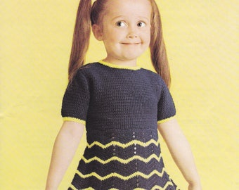 Chevron crochet girls dress 4 ply yarn