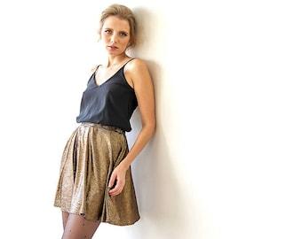 Metallic mini bronze skater skirt, Skirt with side pockets, Metallic mini party skirt 3010