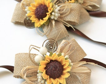 2 Sunflower Wedding Burlap Wrist Corsages, Rustic Wedding Bridesmaids Sunflower Bracelets, Mothers Sunflower Wrist Girl Accessories