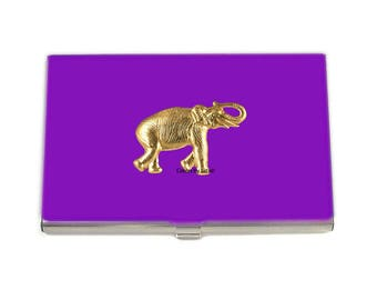 Purple Elephant Business Card Case Inlaid in Hand Painted Glossy Enamel Finish with Color and Personalized Options