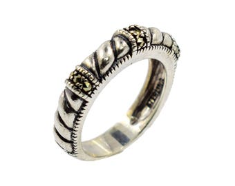 Sterling silver with marcasite, twisted, band