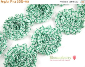 "Clearance 50% OFF 2.5"" Printed Shabby Rose Trim- Green Quatrefoil- Frayed- Quatrefoil Shabby Trim- Printed Shabby Trim -Hair Accessories Sup"
