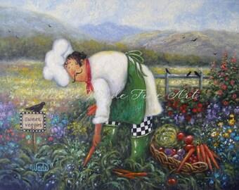Garden Chef Art Print, chef paintings fat chefs chef art kitchen art food garden vegetables, Vickie Wade art
