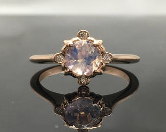 Rose Gold Vintage Inspired Moonstone and Diamond Engagement Ring - 14K Rose Gold Victorian Moonstone Ring - Rainbow Moonstone Promise Ring