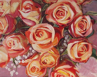 photography Peach Roses Bouquet Oil Painted Photograph Print