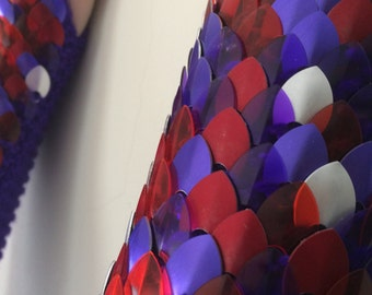 Mixed Purple, Frost Silver and Red Elbow Length Scalemail Gauntlets