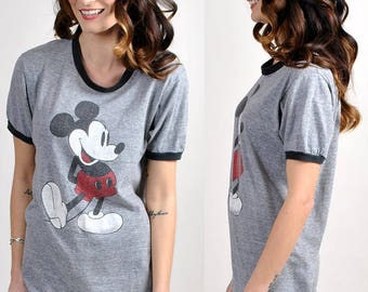 vintage mickey mouse grey tee    H13