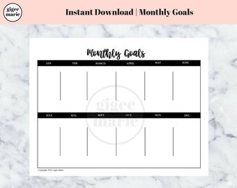 Printable Monthly Goals