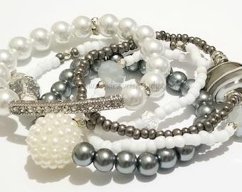 White,Grey, Silver Beaded Bracelets,Set, Rhinestone, Bling, Stackable, Minimalist, Stretchy, Handmade Custom Beaded Jewelry