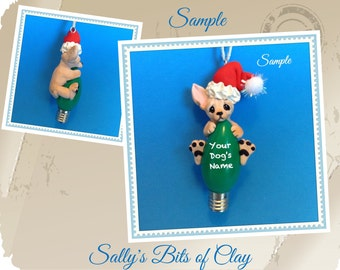 Chihuahua Santa Dog light fawn smooth coat Christmas Light Bulb Ornament hand sculpted Sally's Bits of Clay PERSONALIZED FREE dog's name