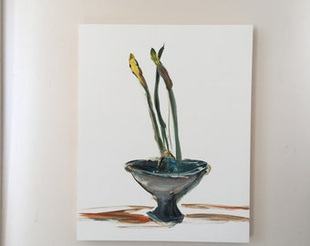 NEW ITEM- Daffodil Bulbs- 20 X 16- Flower Paint Sketch- Gesso Panel-  Natural Wood 1-1/2 inch Edges - Ready to Hang