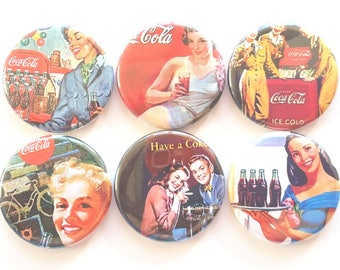 Coke Magnets, Coca-Cola Magnets, Refrigerator Magnets, Fridge Magnets, Vintage Coke Magnets, Fun Magnets, Retro Coke Ads Magnets, Set of 6