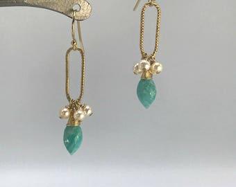 Pearls Earrings Amazonite Earrings